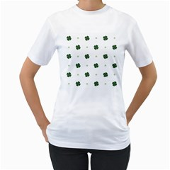 Green Leaf Women s T-Shirt (White) (Two Sided)