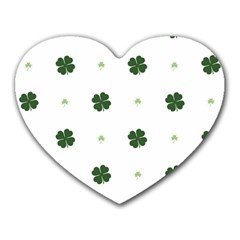 Green Leaf Heart Mousepads