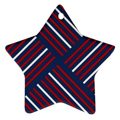 Geometric Background Stripes Red White Ornament (Star)