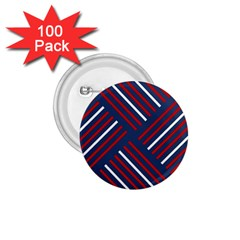 Geometric Background Stripes Red White 1.75  Buttons (100 pack)