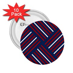 Geometric Background Stripes Red White 2.25  Buttons (10 pack)