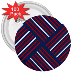 Geometric Background Stripes Red White 3  Buttons (100 pack)