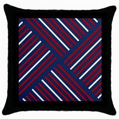 Geometric Background Stripes Red White Throw Pillow Case (Black)