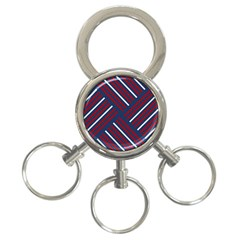 Geometric Background Stripes Red White 3-Ring Key Chains