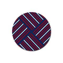 Geometric Background Stripes Red White Rubber Coaster (Round)
