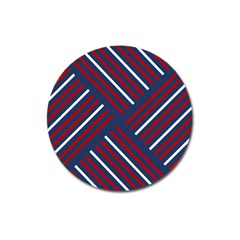 Geometric Background Stripes Red White Magnet 3  (Round)