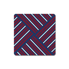 Geometric Background Stripes Red White Square Magnet