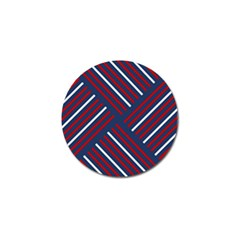 Geometric Background Stripes Red White Golf Ball Marker