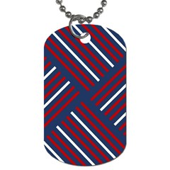 Geometric Background Stripes Red White Dog Tag (Two Sides)