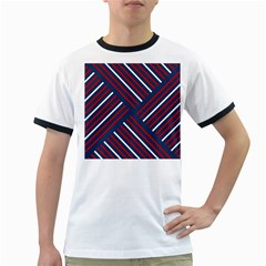 Geometric Background Stripes Red White Ringer T-Shirts
