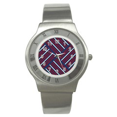 Geometric Background Stripes Red White Stainless Steel Watch