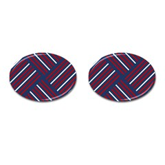 Geometric Background Stripes Red White Cufflinks (Oval)