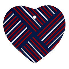 Geometric Background Stripes Red White Heart Ornament (2 Sides)