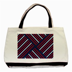 Geometric Background Stripes Red White Basic Tote Bag (Two Sides)