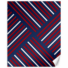 Geometric Background Stripes Red White Canvas 11  x 14