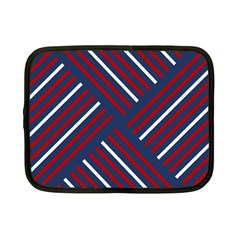 Geometric Background Stripes Red White Netbook Case (Small)