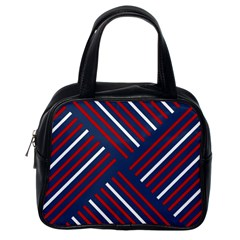 Geometric Background Stripes Red White Classic Handbags (One Side)