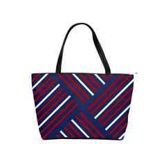 Geometric Background Stripes Red White Shoulder Handbags