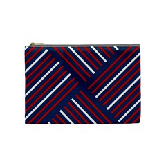 Geometric Background Stripes Red White Cosmetic Bag (Medium)