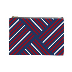 Geometric Background Stripes Red White Cosmetic Bag (Large)