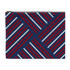 Geometric Background Stripes Red White Cosmetic Bag (XL)