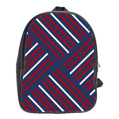 Geometric Background Stripes Red White School Bags(Large)