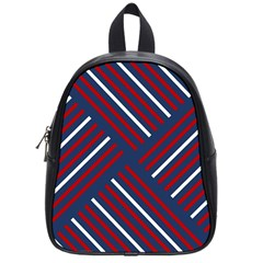 Geometric Background Stripes Red White School Bags (Small)