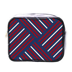 Geometric Background Stripes Red White Mini Toiletries Bags