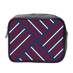 Geometric Background Stripes Red White Mini Toiletries Bag 2-Side