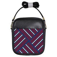 Geometric Background Stripes Red White Girls Sling Bags