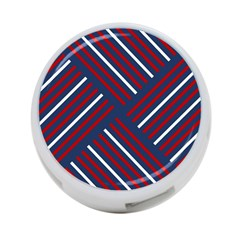 Geometric Background Stripes Red White 4-Port USB Hub (One Side)