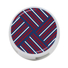 Geometric Background Stripes Red White 4-Port USB Hub (Two Sides)