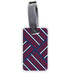 Geometric Background Stripes Red White Luggage Tags (One Side)