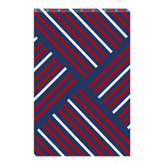 Geometric Background Stripes Red White Shower Curtain 48  x 72  (Small)