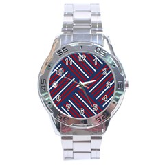 Geometric Background Stripes Red White Stainless Steel Analogue Watch