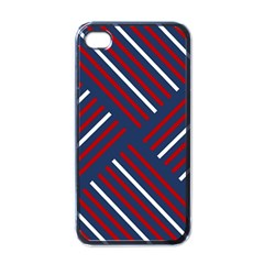 Geometric Background Stripes Red White Apple iPhone 4 Case (Black)