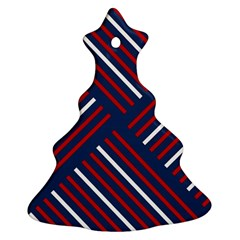 Geometric Background Stripes Red White Christmas Tree Ornament (2 Sides)