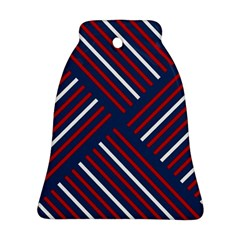 Geometric Background Stripes Red White Bell Ornament (2 Sides)