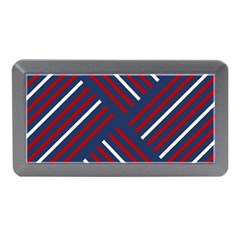 Geometric Background Stripes Red White Memory Card Reader (Mini)