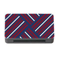 Geometric Background Stripes Red White Memory Card Reader with CF