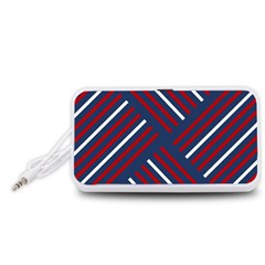 Geometric Background Stripes Red White Portable Speaker (White)
