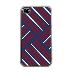 Geometric Background Stripes Red White Apple iPhone 4 Case (Clear)