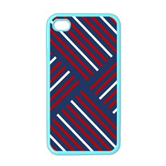 Geometric Background Stripes Red White Apple iPhone 4 Case (Color)