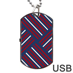 Geometric Background Stripes Red White Dog Tag USB Flash (Two Sides)