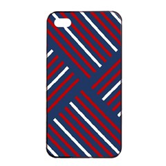 Geometric Background Stripes Red White Apple iPhone 4/4s Seamless Case (Black)