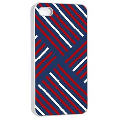 Geometric Background Stripes Red White Apple iPhone 4/4s Seamless Case (White)