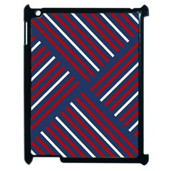 Geometric Background Stripes Red White Apple iPad 2 Case (Black)