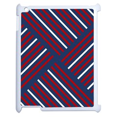Geometric Background Stripes Red White Apple iPad 2 Case (White)