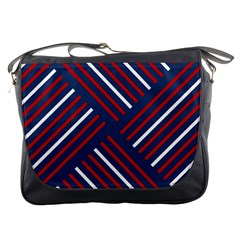 Geometric Background Stripes Red White Messenger Bags