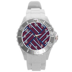 Geometric Background Stripes Red White Round Plastic Sport Watch (L)